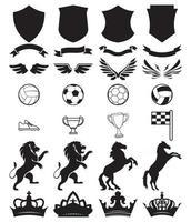ensemble de football d'emblèmes noirs, badges, étiquettes ou kit de création de modèles de logo vecteur