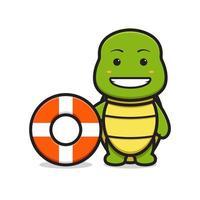 personnage de mascotte de tortue mignonne porter une bouée de natation icône de vecteur de dessin animé