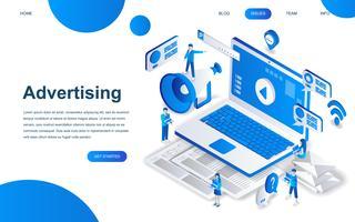 Concept de design isométrique moderne de la publicité et de la promotion vecteur