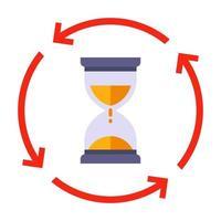 retourner l'icône de sablier. pour garder une trace du temps écoulé. illustration vectorielle plane vecteur