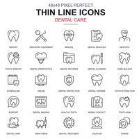 Soins dentaires fine ligne, jeu d'icônes d'équipement de dentisterie vecteur