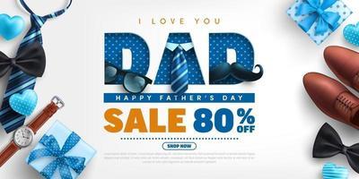 modèle de bannière de vente d'affiches de la fête des pères avec le concept de papa d'amour vecteur