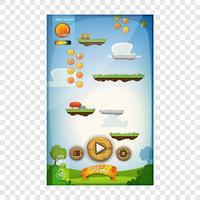 Conception de l'interface utilisateur du jeu de saut pour tablette vecteur