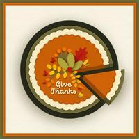Tarte à la citrouille de Thanksgiving Papercraft vecteur