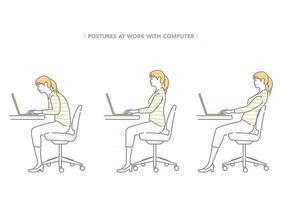 Ensemble de postures d'une femme travaillant sur un ordinateur isolé sur fond blanc vecteur