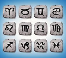 Des signes du zodiaque et des icônes sur des rochers vecteur
