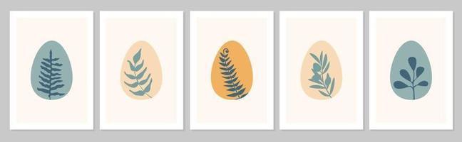 Affiche boho abstraite dessinée à la main avec des oeufs et des feuilles tropicales, olivier, feuille isolée sur fond beige. illustration vectorielle à plat. conception de modèle, logo, invitation, carte de voeux vecteur