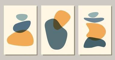 affiches boho de formes abstraites contemporaines. fond moderne mis en esthétique bohème. illustration vectorielle à plat. conception pour les impressions d'art mural, carte, couverture. vecteur