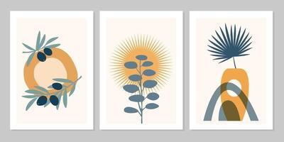 Affiche boho abstraite dessinée à la main avec feuille tropicale, olivier, vase de couleur et forme isolée sur fond beige. illustration vectorielle à plat. conception de modèle, logo, invitation, carte de voeux vecteur