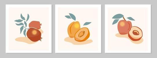 nature morte abstraite avec affiche de pêche, abricot, grenade. collection d'art contemporain. illustration vectorielle à plat. conception de fruits abstraits dessinés à la main pour les médias sociaux, cartes postales, impression. vecteur