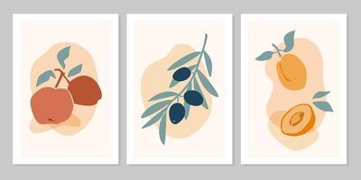 Affiche boho abstraite dessinée à la main avec pomme, olive, abricot sur fond beige. illustration vectorielle à plat. conception de modèle, logo, affiches, invitation, carte de voeux vecteur