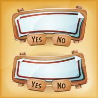 Panneau d'accord en carton de dessin animé pour le jeu de l'interface utilisateur