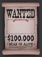 Wanted Vintage Poster sur parchemin