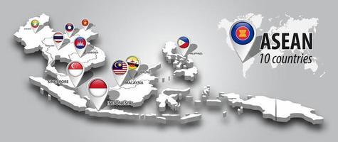 drapeau de l'asean et des membres sur la carte 3d vue en perspective de l'asie du sud-est et broche de navigateur gps sur fond dégradé de couleur grise vecteur