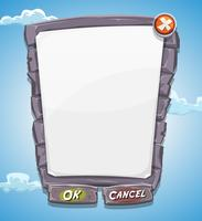 Panneau d'accord de grosse pierre de dessin animé pour le jeu d'interface utilisateur