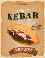Affiche sandwich de grunge et de kebab vintage