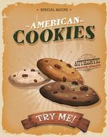 Affiche de biscuits américains grunge et vintage vecteur