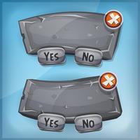 Panneau d'accord de dessin animé de rock et de pierre pour le jeu de l'interface utilisateur vecteur