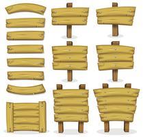 Bannières, panneaux et enseignes en bois pour le jeu de l'interface utilisateur vecteur