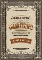 Fond d'affiche Vintage Festival rétro vecteur