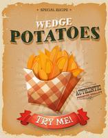 Affiche de pommes de terre grunge et vintage