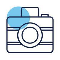 icône de style de ligne de bloc photographique appareil photo vecteur