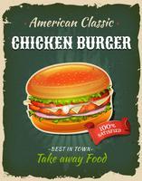 Affiche de burger de poulet de restauration rapide rétro vecteur