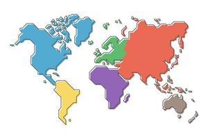 carte du monde avec continent multicolore et conception de ligne de dessin animé simple et moderne. vecteur