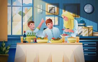 Moubarak eid famille manger ensemble vecteur
