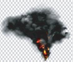 fumée noire avec feu isolé vecteur