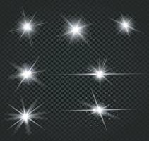 collection de différents effets de lumière flare vecteur
