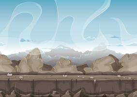 Paysage de désert de pierres et de roches sans soudure pour le jeu de l'interface utilisateur vecteur