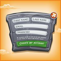 Formulaire de connexion sur panneau de pierre pour le jeu de l'interface utilisateur