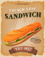 Affiche de sandwich au pain français grunge et vintage vecteur