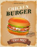 Affiche de burger de poulet cru et grunge vecteur