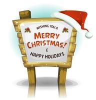 Chapeau de père Noël sur panneau de bois drôle vecteur