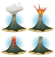 Ensemble de montagnes de volcan vecteur