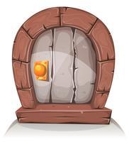 Porte de dessin animé en bois et pierre Hobbit vecteur