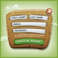 Formulaire de connexion sur panneau de bois pour le jeu d'interface utilisateur