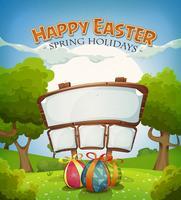Vacances de Pâques et paysage de printemps avec signe