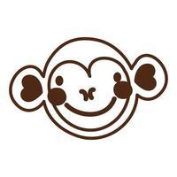 icône de caractère animal sauvage singe mignon vecteur