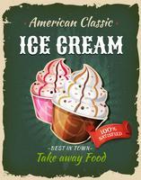 Affiche rétro de crème glacée de restauration rapide vecteur