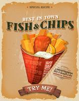 Affiche de poisson et frites vintage grunge