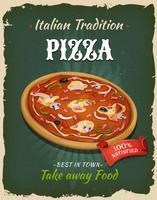 Affiche rétro de pizza de restauration rapide