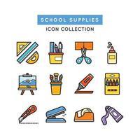 icônes de matériel scolaire vecteur