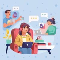 groupe d'amis ayant une réunion virtuelle vecteur