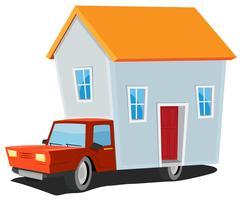 Petite maison sur camion de livraison vecteur