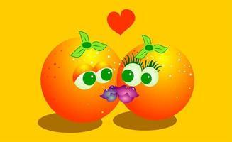 drôles de baisers d'oranges d'agrumes vecteur