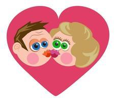 couple de baisers de dessin animé drôle vecteur