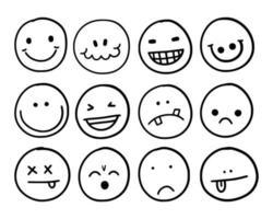 ensemble d'avatar de visage drôle emoji vecteur